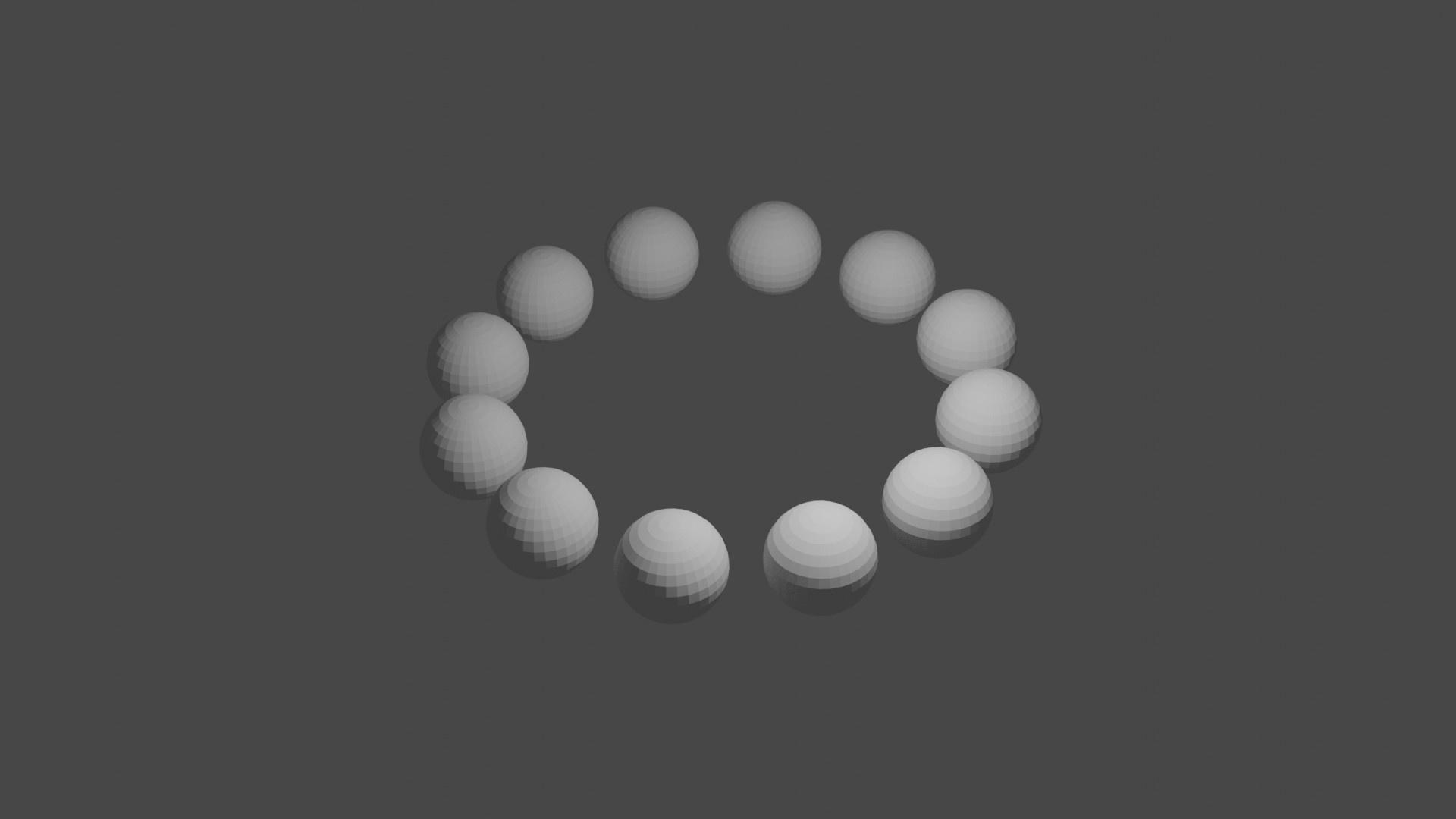 円周上に並べた球体